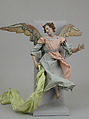 Angel, Attributed to Giuseppe Gori (active ca. 1770–1810), Polychromed terracotta head; wooden limbs and wings; body of wire wrapped in tow; various fabrics, Italian, Naples