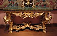 Console table, Gilded linden and poplar, green porphyry, gilt-bronze, Italian, Rome