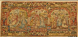 The Annunciation, Adoration of the Shepherds, and Adoration of the Kings, Attributed to an Anonymous Workshop, British  , London, Silk, wool, silver-gilt thread (18-22 warps per inch, 7-8 per cm.), British, probably London