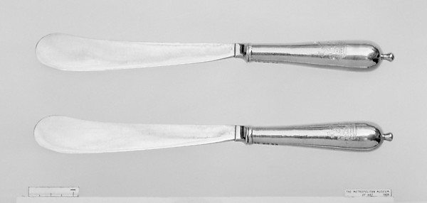 Two knives, Possibly by Albert Schurman (mid-18th century), Silver gilt, British, London