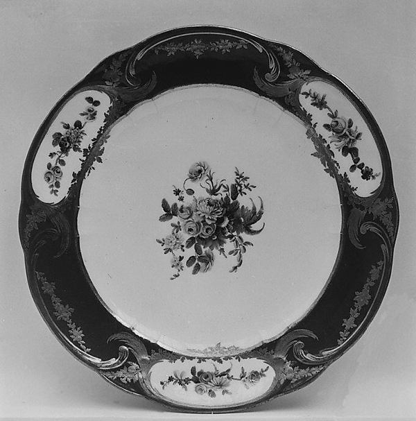 Plate (assiette à palmes) (1 of 102) (part of a service), Sèvres Manufactory (French, 1740–present), Soft-paste porcelain, French, Sèvres