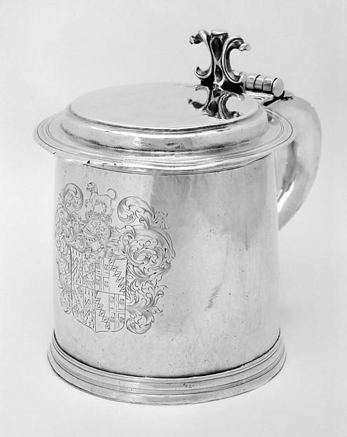 Tankard, Probably by V. C., London (ca. 1680–1695), Silver, British, London
