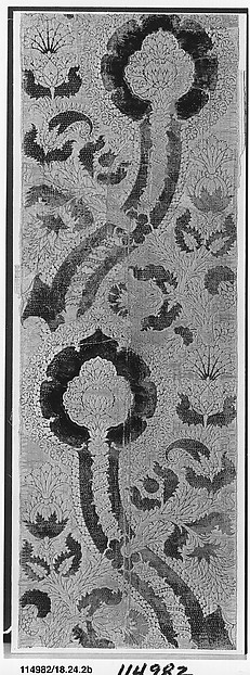 Panel of velvet, Silk and metal-wrapped thread; pile-on-pile cut, voided, brocaded velvet with metal-wrapped thread loops, Italian or Spanish