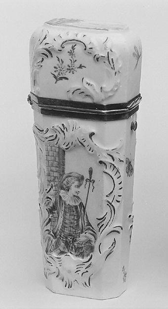 Étui, Hard-paste porcelain, silver, probably German