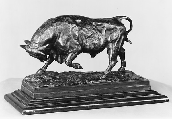 Bull on the Defensive, Antoine-Louis Barye (French, Paris 1796–1875 Paris), Bronze, brownish green patina; wood, French