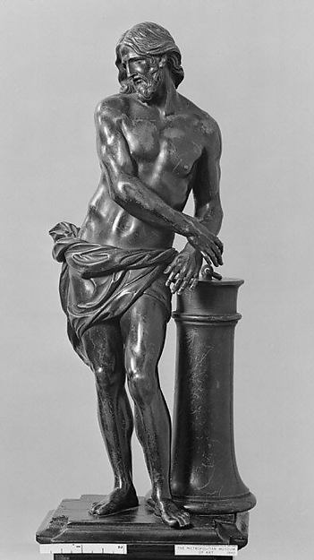 Christ at the Column, After a model by François Duquesnoy (Brussels 1594–1643 Livorno, Italy), Bronze; ebony, gilt bronze., French