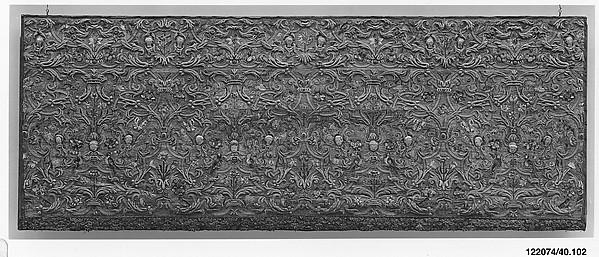 Altar frontal, Silk and metal thread on linen (?) and silk, Italian