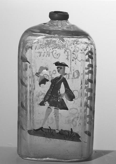 Bottle, Glass, pewter, German
