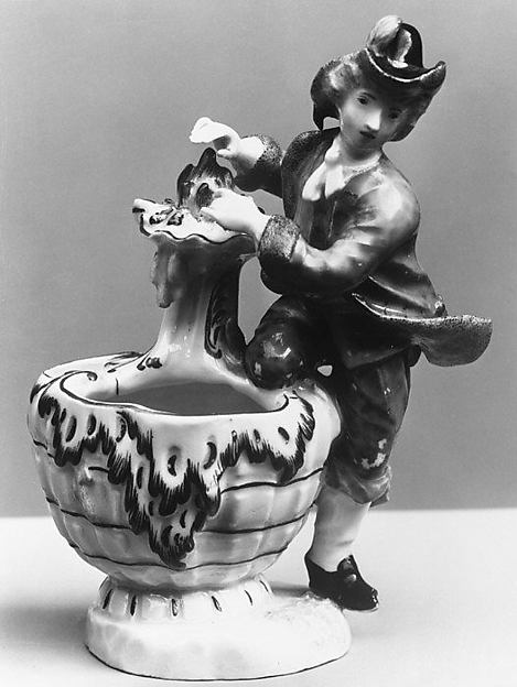 Condiment jar (one of a pair), with figure symbolizing Winter, Höchst Manufactory (German, 1746–1796), Hard-paste porcelain, German, Höchst