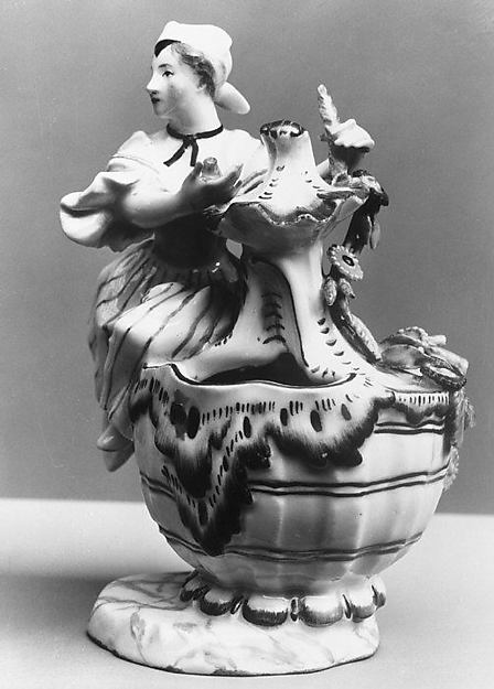 Condiment jar (one of a pair), with figure symbolizing Summer, Höchst Manufactory (German, 1746–1796), Hard-paste porcelain, German, Höchst