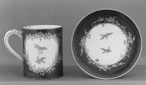 Cup (gobelet litron) and saucer, Vincennes Manufactory (French, ca. 1740–1756), Soft-paste porcelain, French, Vincennes