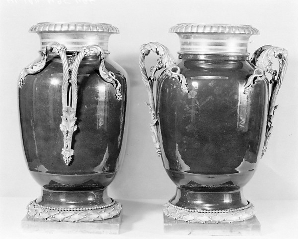 Pair of vases, Hard-paste porcelain; gilt-bronze mounts, Chinese with French mounts
