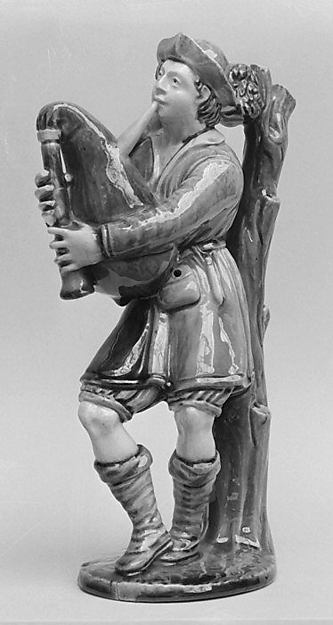 Man with bagpipes, Lead-glazed earthenware, French, Avon