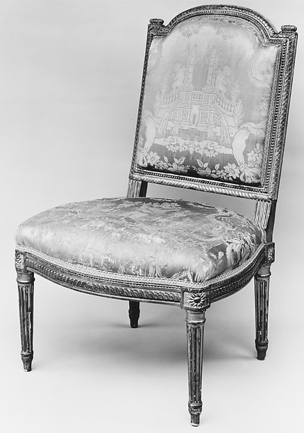 Side chair (Chaise à la reine) (part of a set), Jean Baptiste Boulard (ca. 1725–1789), Carved and gilded beech; silk damask (not original), French, Paris