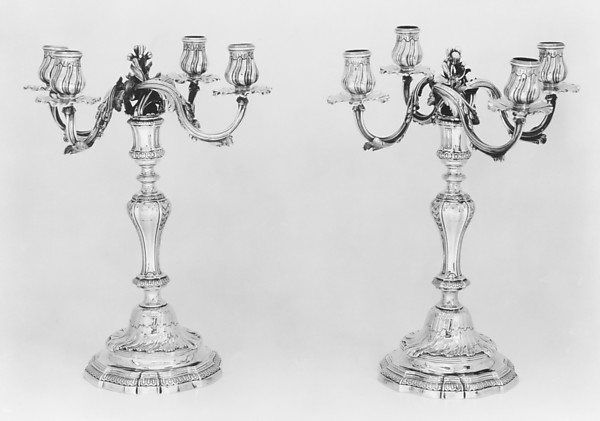 Pair of candelabra, Jean-Baptiste-François Chéret (1728, master 1759, recorded up to 1791), Silver, French, Paris
