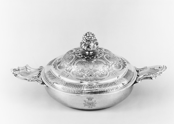 Porringer with cover (Écuelle), Philippe Lafourge (master 1740/1, died 1767), Silver, French, Toulouse