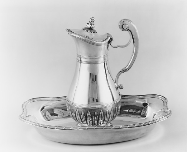 Ewer and basin, Pierre Miston (master 1730), Silver, French, Montpellier
