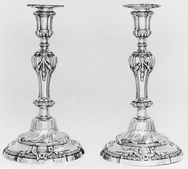Pair of candlesticks, Jean-Baptiste-François Chéret (1728, master 1759, recorded up to 1791), Silver, French, Paris