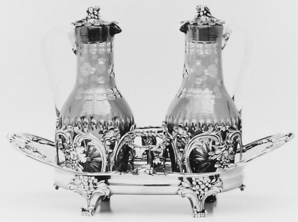 Cruet stand, Probably Joseph-Pierre-Jacques Duguay (born 1724, master 1756, recorded 1793), Silver; glass, French, Paris