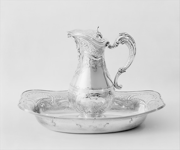 Ewer and basin, Joseph-Pierre-Jacques Duguay (born 1724, master 1756, recorded 1793), Silver, French, Paris