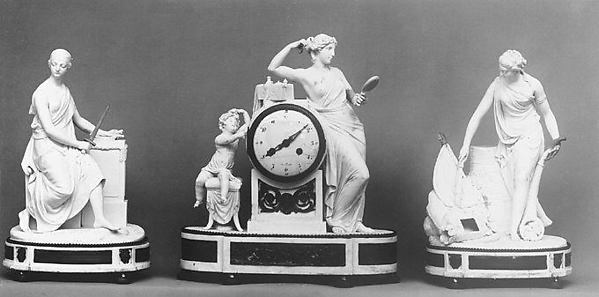 Clock, Rue de Bondy, Hard-paste biscuit porcelain, gilt bronze, French, Paris