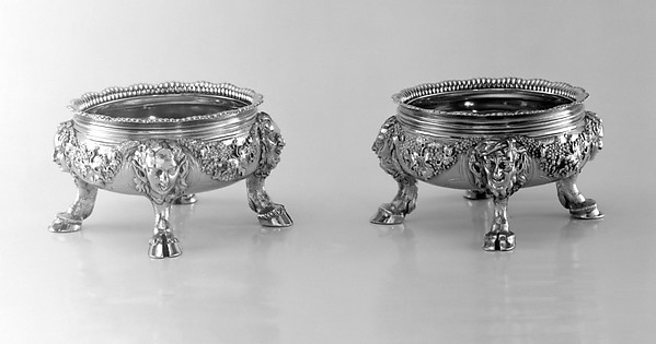 Set of four saltcellars, Paul de Lamerie (British, 1688–1751, active 1712–51), Silver gilt, British, London
