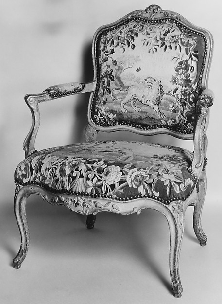 Armchair (part of a set of nine), Tapestry woven at Aubusson (Manufacture Royale, est. 1665: Manufacture, ca. 1812–present day), Carved and painted walnut; Aubusson tapestry upholstery, French