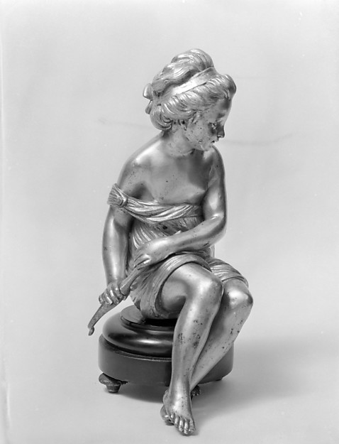 Seated girl, After a model by Étienne-Maurice Falconet (French, Paris 1716–1791 Paris), Gilt bronze, dark wood, French