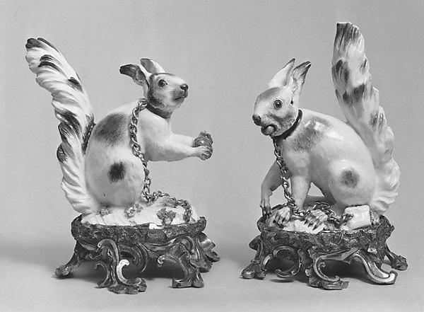 Pair of squirrels, Meissen Manufactory (German, 1710–present), Hard-paste porcelain, gilt bronze, German, Meissen