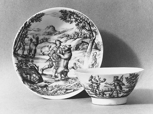 Teabowl and saucer, Decoration in the style of Vienna, Hard-paste porcelain, Austrian, Vienna