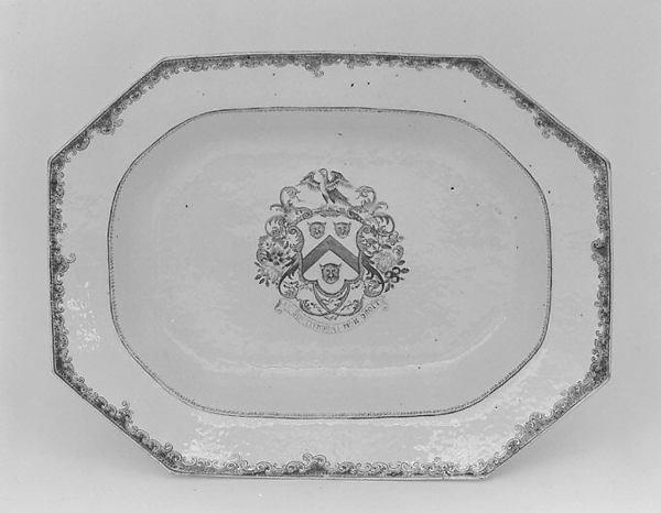 Platter, Hard-paste porcelain, Chinese, for British market
