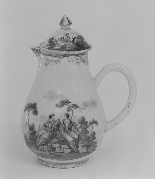 Milk jug with cover, Hard-paste porcelain, Chinese, for European market