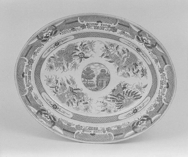 Platter, Hard-paste porcelain, Chinese, probably for American market