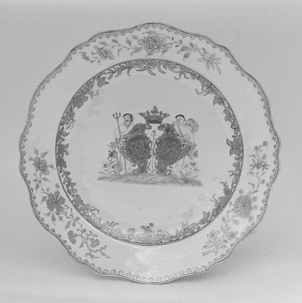 Plate (part of a service), Hard-paste porcelain, Chinese, for Danish market