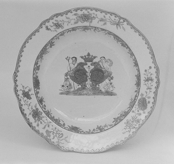Soup plate (part of a service), Hard-paste porcelain, Chinese, for Danish market