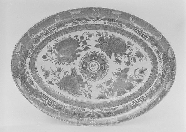 Platter, Hard-paste porcelain, Chinese, probably for American market