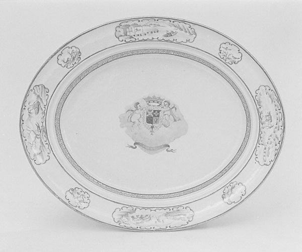 Platter with rack (part of a service), Hard-paste porcelain, Chinese, for Portuguese market