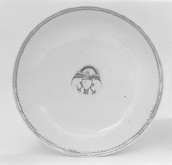 Soup plate (part of a service), Hard-paste porcelain, Chinese, for American market