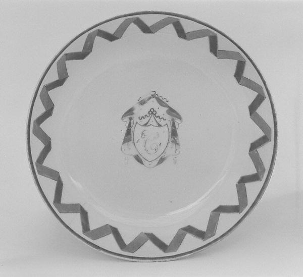 Saucer (part of a set), Hard-paste porcelain, Chinese, for British market