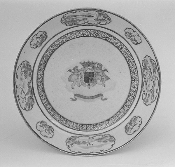Saucer (part of a service), Hard-paste porcelain, Chinese, for Portuguese market