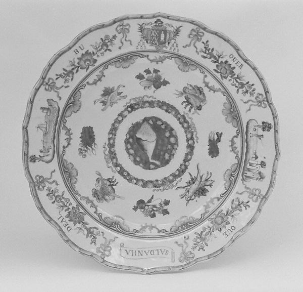 Plate (part of a service), Hard-paste porcelain, Chinese, for Portuguese market