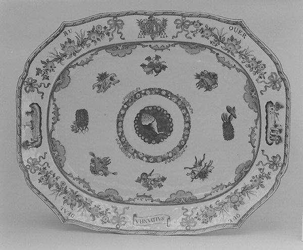 Platter (part of a service), Hard-paste porcelain, Chinese, for Portuguese market
