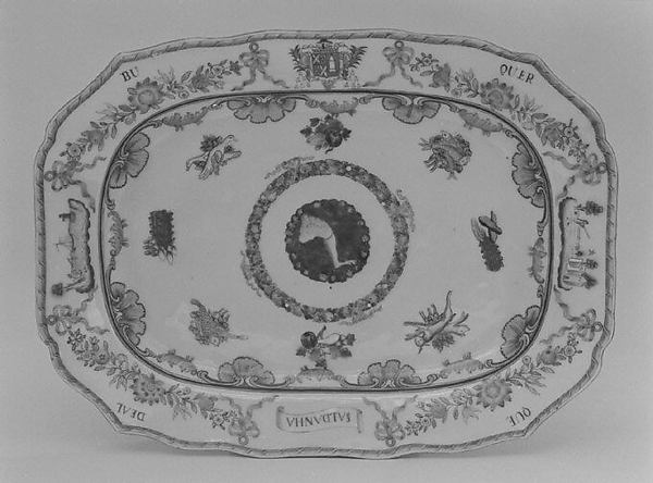 Platter (part of a service), Hard-paste porcelain, Chinese, for Portuguese market