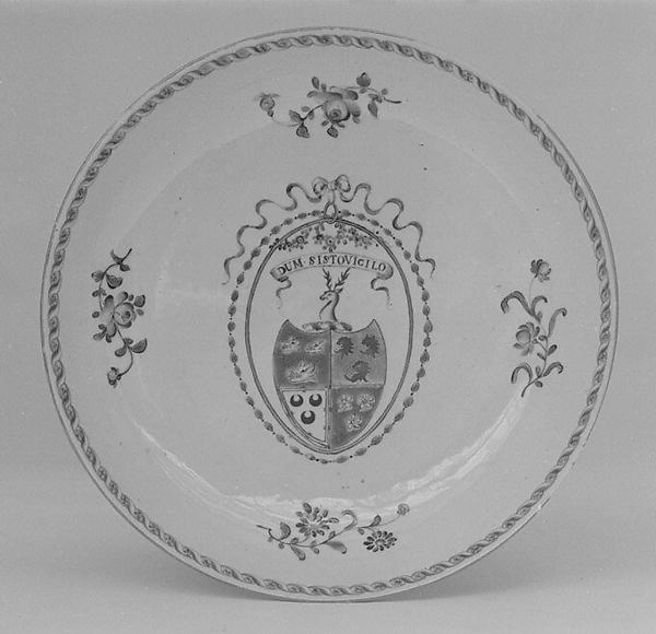 Soup plate (part of a service), Hard-paste porcelain, Chinese, for British market