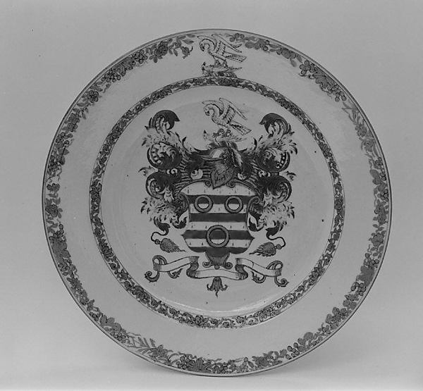 Plate, Hard-paste porcelain, Chinese, for British market