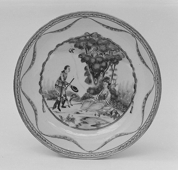 Saucer (part of a service), Hard-paste porcelain, Chinese, for Continental market