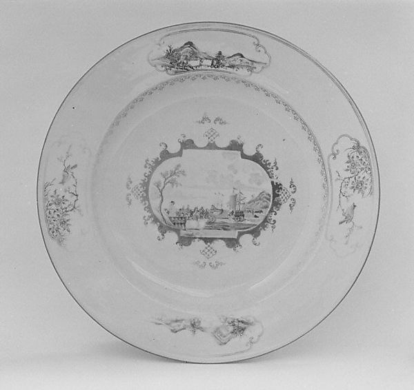 Platter (part of a service), Hard-paste porcelain, Chinese, for Continental (possibly Danish) market