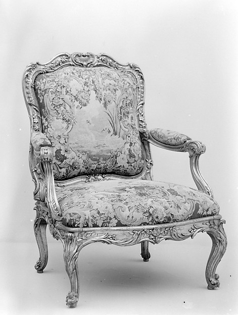 Armchair (part of a set), Frame by Nicolas-Quinibert Foliot (1706–1776, warden 1750/52), Carved and gilded beech; wool and silk tapestry, French, Paris