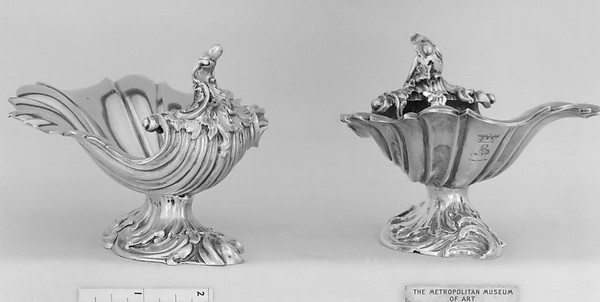 Pair of saltcellars, Silver, gilt lined, British, London
