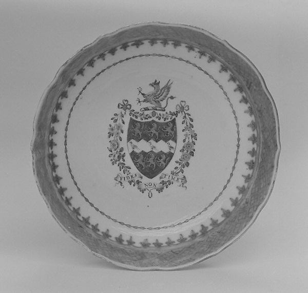 Saucer (part of a service), Hard-paste porcelain, Chinese, for British market